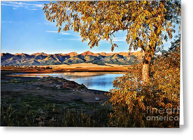 Bobcat Greeting Cards - Autumn Sunrise at DeWeese Reservoir Greeting Card by Priscilla Burgers