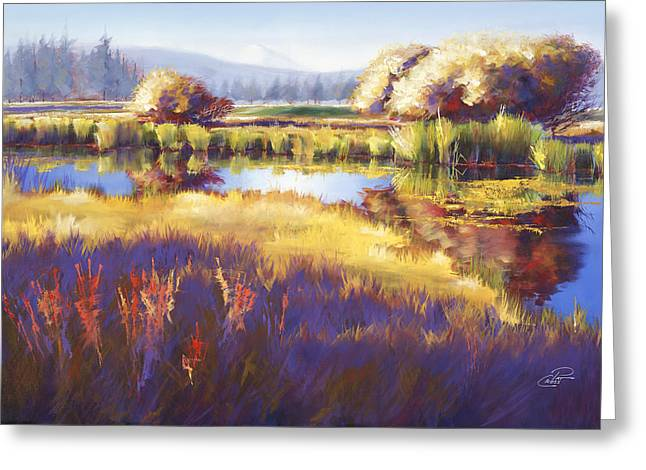 Pat Cross Greeting Cards - Autumn Sunriver Greeting Card by Pat Cross