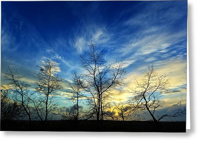 White Photographs Greeting Cards - Autumn Sunset Greeting Card by Bill Caldwell -        ABeautifulSky Photography