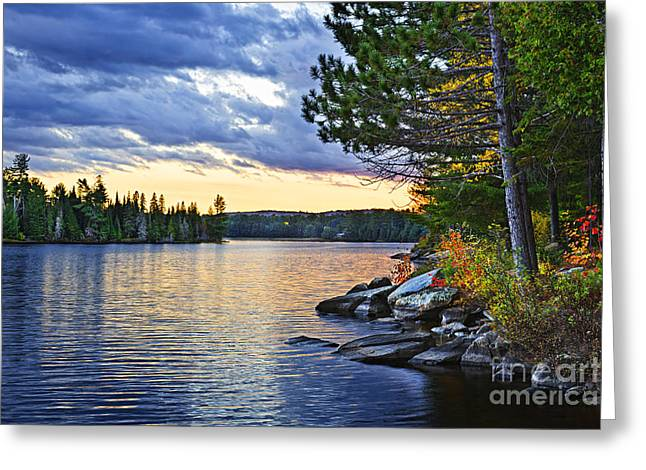 Beautiful Greeting Cards - Autumn sunset at lake Greeting Card by Elena Elisseeva