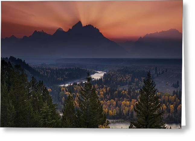 Western Usa Greeting Cards - Autumn Sunset at the Snake River Overlook Greeting Card by Andrew Soundarajan