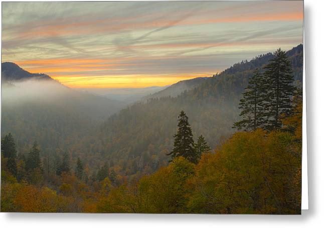 Gatlinburg Tennessee Greeting Cards - Autumn Sunset in the Smokies Greeting Card by Yoder Images