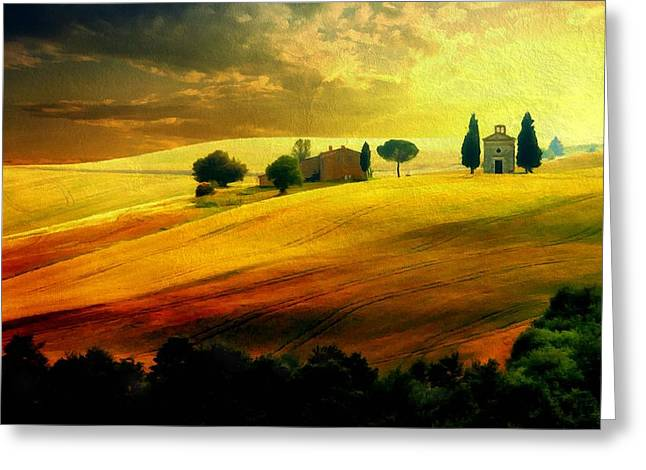 Amazing Sunset Mixed Media Greeting Cards - Autumn Sunset in Tuscany Greeting Card by Lilia D