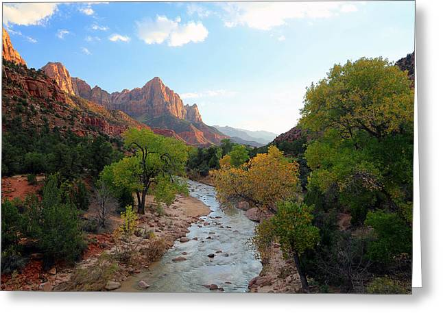 Amazing Sunset Greeting Cards - Autumn sunset in Zion. Greeting Card by Johnny Adolphson