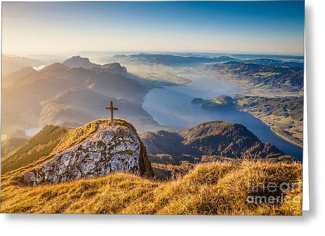 Swiss Cross Greeting Cards - Autumn Sunset Greeting Card by JR Photography