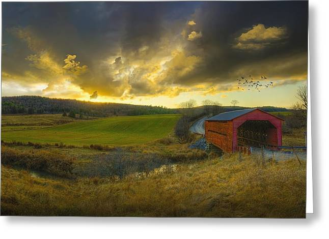 Storm Clouds; Sunset; Twilight; Water Greeting Cards - Autumn Sunset Over Meech Creek And Greeting Card by Richard Desmarais