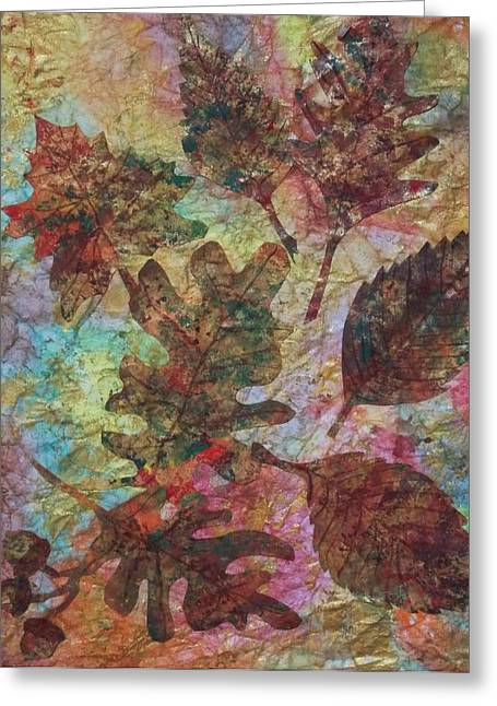 Fallen Leaf Mixed Media Greeting Cards - Autumn Symphony Greeting Card by Ellen Levinson