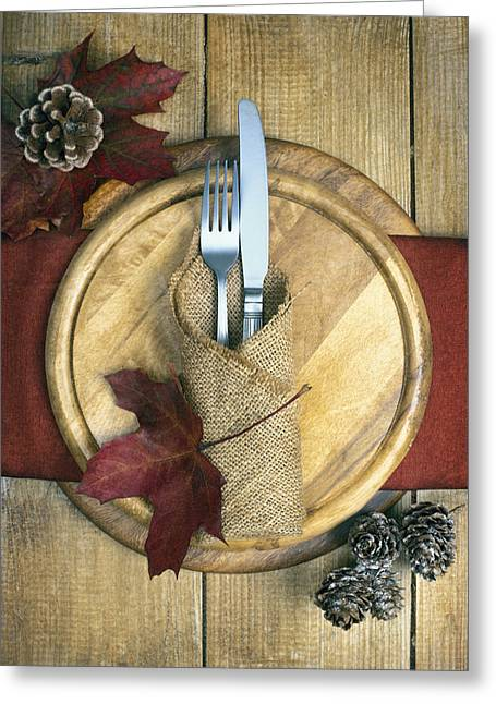 Pine Cone Greeting Cards - Autumn Table Setting Greeting Card by Amanda And Christopher Elwell
