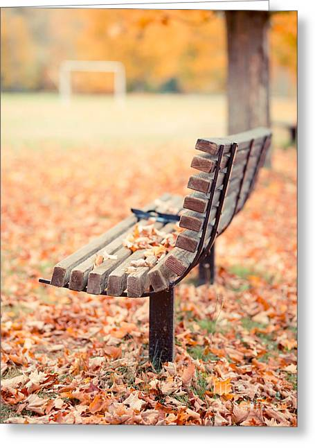 Park Benches Greeting Cards - Autumn the years last loveliest smile Greeting Card by Edward Fielding