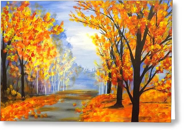 Darren Greeting Cards - Autumn Trail Greeting Card by Darren Robinson