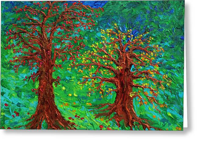 Enlightened Path Greeting Cards - Autumn Tree Blues Greeting Card by Julie Turner