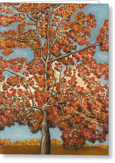 Michael Pastels Greeting Cards - Autumn Tree Greeting Card by Michael Anthony Edwards