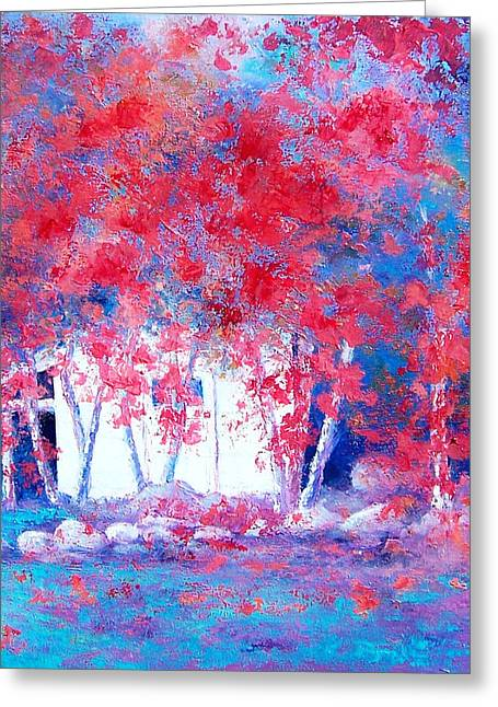 Country Cottage Greeting Cards - Red Autumn Trees by Jan Matson Greeting Card by Jan Matson