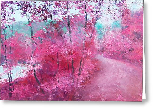 Lounge Paintings Greeting Cards - Autumn Trees by Jan Matson Greeting Card by Jan Matson