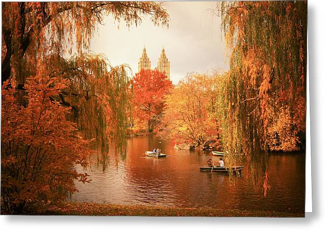Row Boat Photographs Greeting Cards - Autumn Trees - Central Park - New York City Greeting Card by Vivienne Gucwa