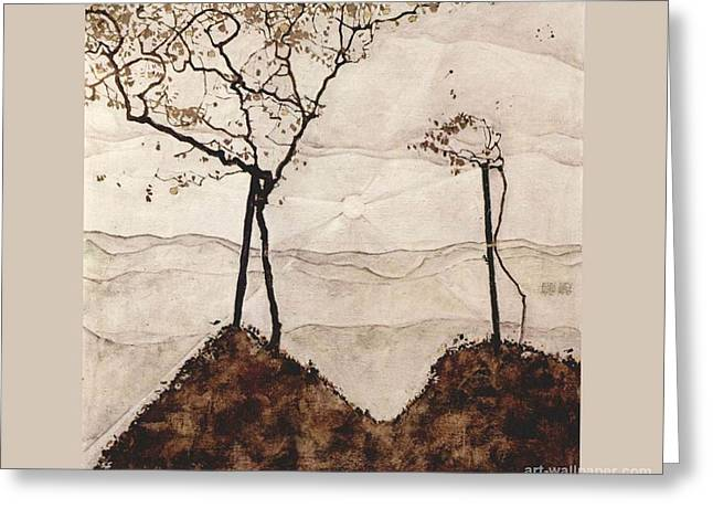 Neo Expressionist Greeting Cards - Autumn Trees Greeting Card by Celestial Images