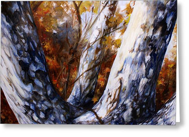 Colors Of Autumn Drawings Greeting Cards - Autumn Trees Greeting Card by Laura Ury
