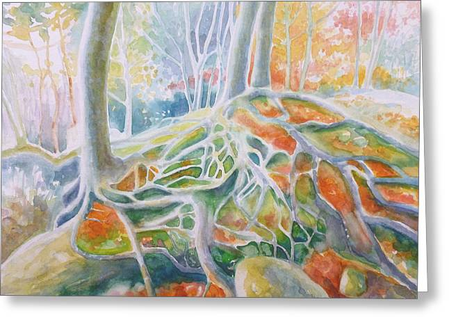 Tree Roots Paintings Greeting Cards - Autumn trees on the East Grinstead climbing rocks Greeting Card by Gill Bustamante