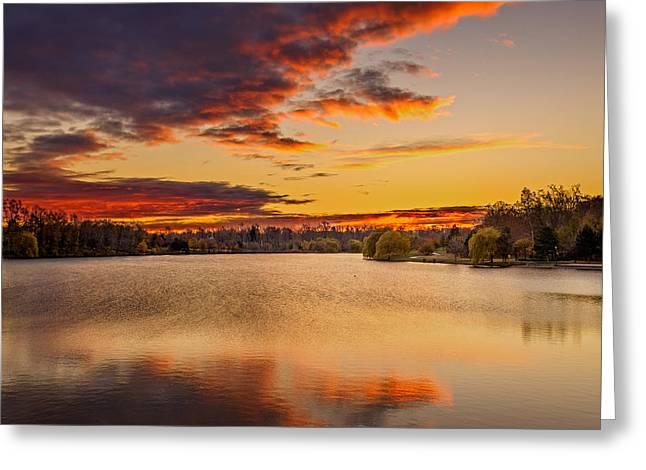 Frederick Greeting Cards - Autumn twilight Hoyt Lake Greeting Card by Chris Bordeleau
