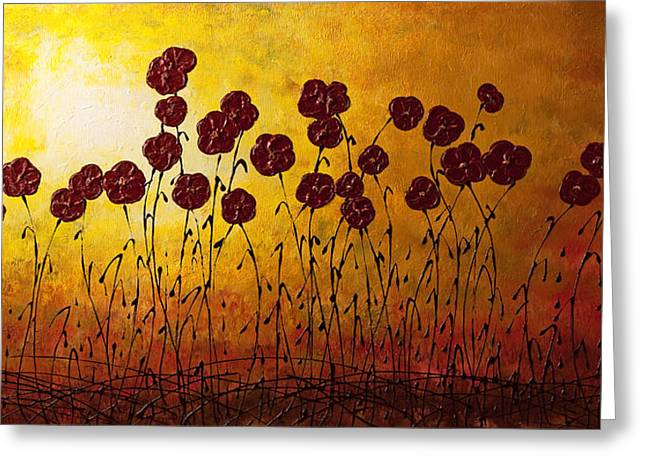 Modern Flowers Greeting Cards - Autumn Valley Greeting Card by Carmen Guedez
