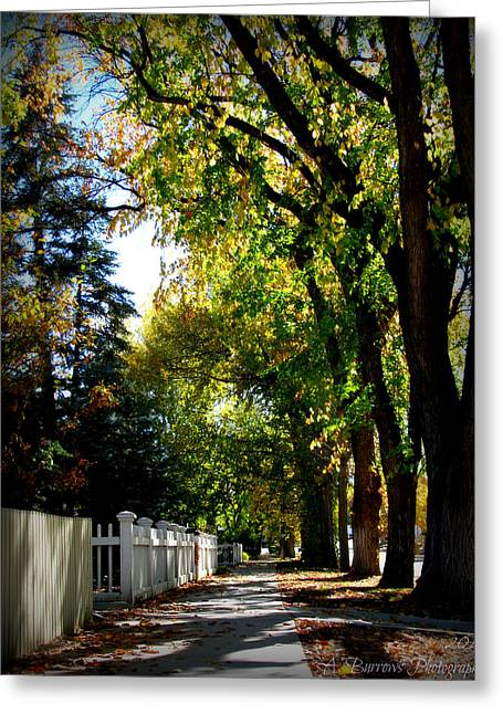 Prescott Greeting Cards - Autumn Victorian Streets Greeting Card by Aaron Burrows