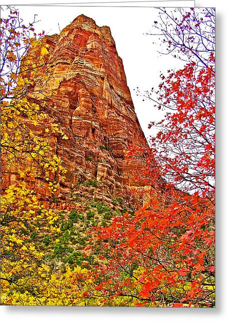 Scenic Drive Digital Greeting Cards - Autumn View along Zion Canyon Scenic Drive in Zion National Park-Utah Greeting Card by Ruth Hager