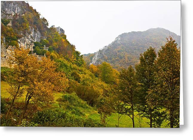 Fall Grass Greeting Cards - Autumn view of mountain ridge in fog Greeting Card by Dalibor Brlek