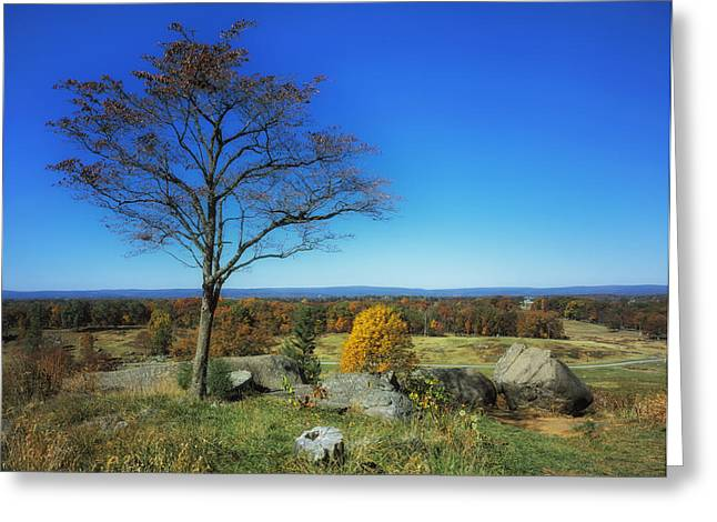 Civil War Site Greeting Cards - Autumn View on Little Round Top - Gettysburg Greeting Card by Mountain Dreams