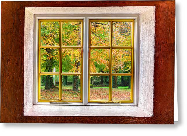 Cabin Window Greeting Cards - Autumn View Greeting Card by Semmick Photo