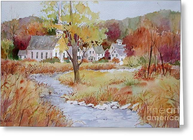 New England Village Paintings Greeting Cards - Autumn Village Greeting Card by Sherri Crabtree
