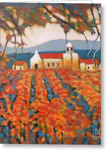 Calistoga Paintings Greeting Cards - Autumn Vineyard Greeting Card by Kip Decker