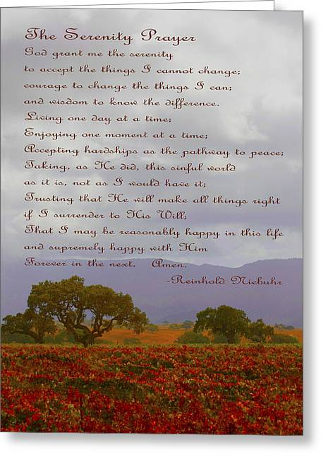 Win Greeting Cards - Autumn Vineyard The Serenity Prayer Greeting Card by Barbara Snyder