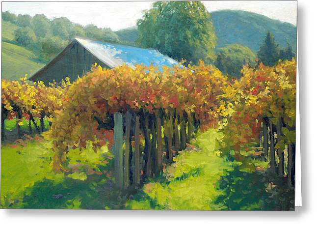 Grape Vineyards Greeting Cards - Autumn Vineyards Greeting Card by Armand Cabrera