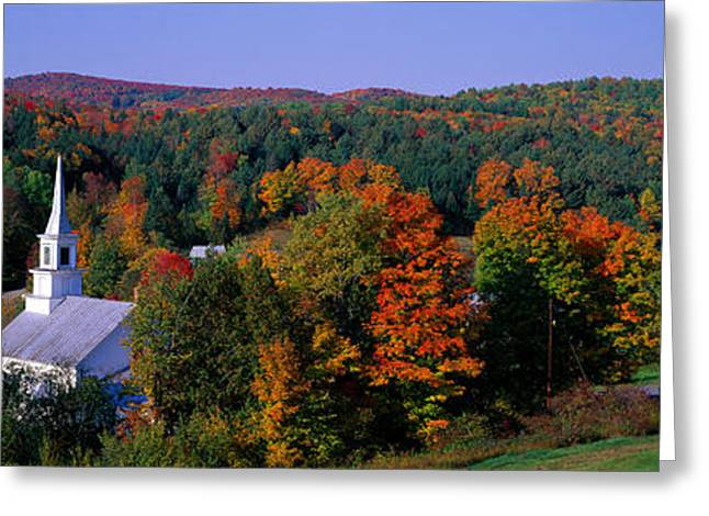 Vermont Village Greeting Cards - Autumn, Waits River, Vermont, Usa Greeting Card by Panoramic Images