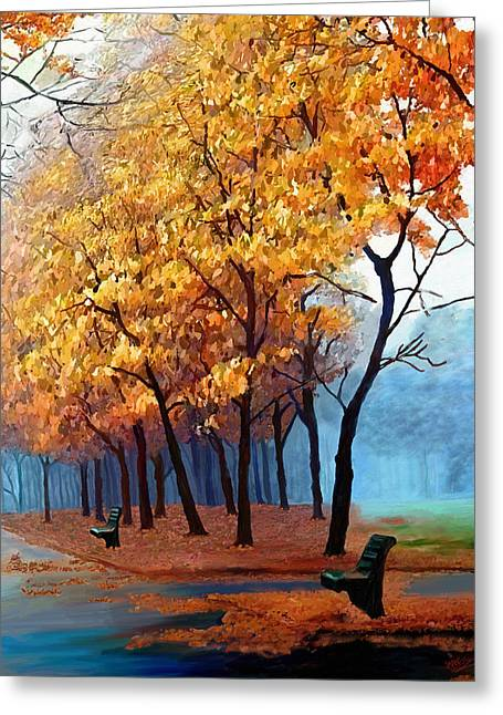 Nature Scene Paintings Greeting Cards - Autumn Walk Greeting Card by James Shepherd