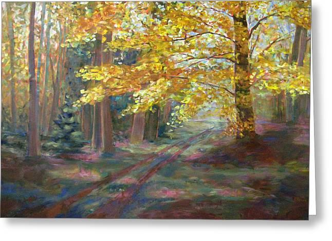 Robie Benve Greeting Cards - Autumn Walk Greeting Card by Robie Benve