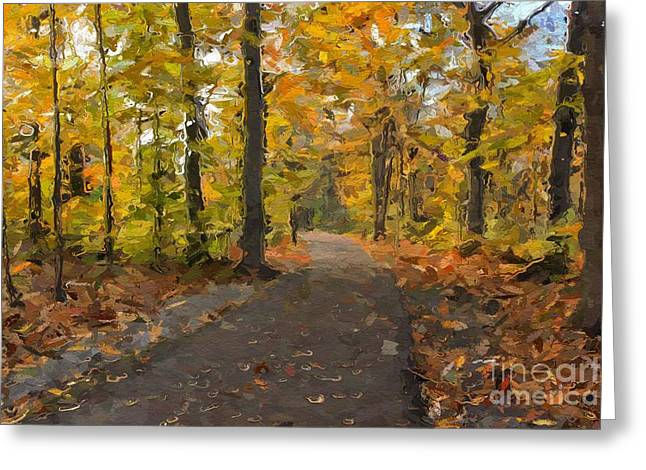 Turning Leaves Photographs Greeting Cards - Autumn Walk Greeting Card by Robin Konarz