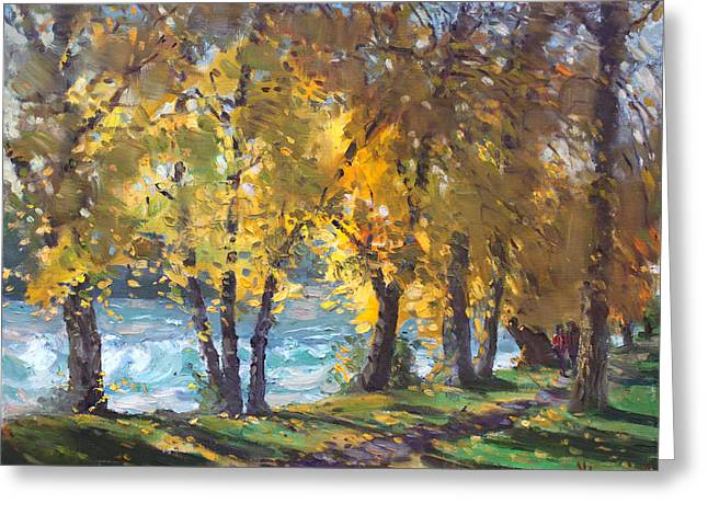 Autumn Landscape Paintings Greeting Cards - Autumn Walk Greeting Card by Ylli Haruni