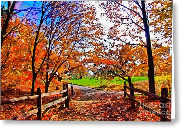 New York Newyork Digital Greeting Cards - Autumn walkway Greeting Card by Nishanth Gopinathan