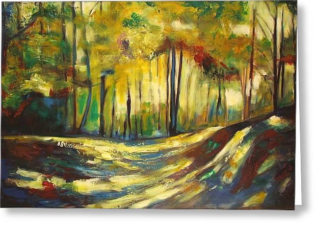 Sheila Diemert Paintings Greeting Cards - Autumn Waltz Greeting Card by Sheila Diemert