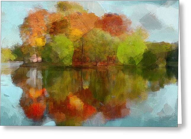 Enjoying Greeting Cards - Autumn Water Reflection Greeting Card by Yury Malkov