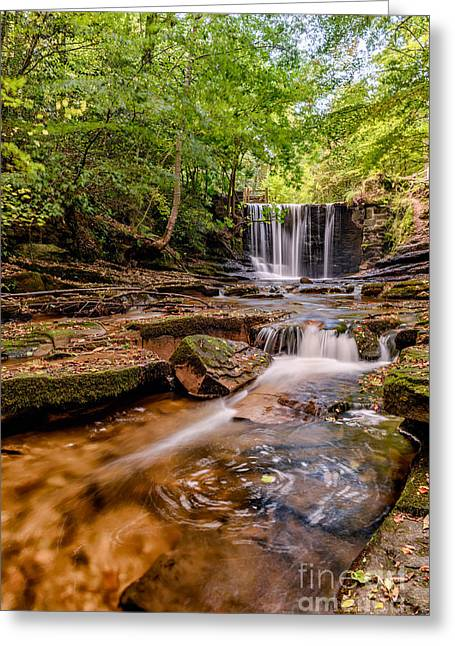 Weired Greeting Cards - Autumn Waterfall Greeting Card by Adrian Evans