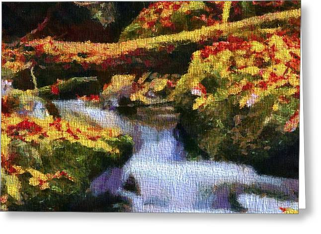 Tennesee Greeting Cards - Autumn Waterfall Canvas Greeting Card by Dan Sproul