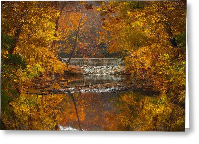 Jen Morrison Greeting Cards - Autumn Waterfall Greeting Card by Jen Morrison