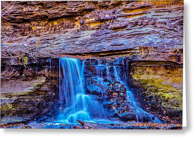 Indiana Autumn Greeting Cards - Autumn Waterfall Greeting Card by Michael J Samuels