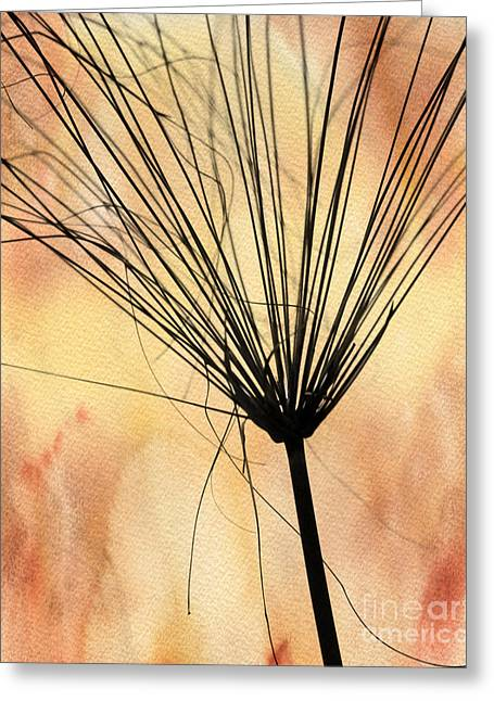 Weedy Greeting Cards - Autumn Weed Silhouette Greeting Card by Sabrina L Ryan