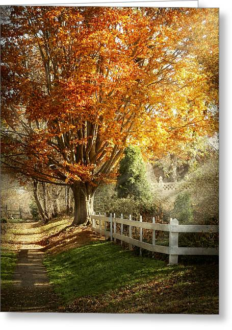 Fencing Greeting Cards - Autumn - Westfield NJ - I love autumn Greeting Card by Mike Savad