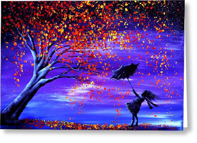 Recently Sold -  - Kinkade Greeting Cards - Autumn Wind Greeting Card by Ann Marie Bone