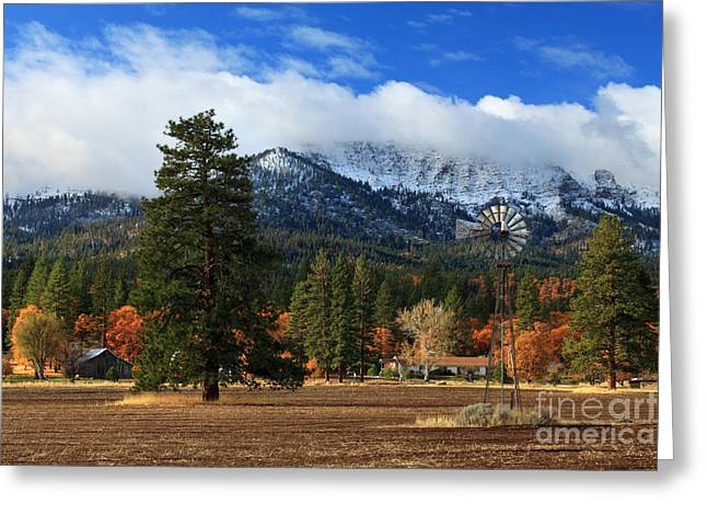 Aermotor Greeting Cards - Autumn Windmill At Thompson Peak Greeting Card by James Eddy