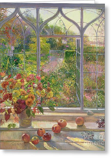 Window Frame Greeting Cards - Autumn Windows Greeting Card by Timothy  Easton